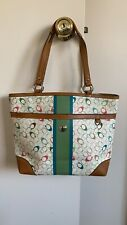 Coach Signature Multi-Stripe Genuine Leather Chelsea Multi-color Handbag Tote