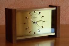 Junghans Quartz Tischuhr Messing geschliffen Holz Batterie 70er Jahre Vintage