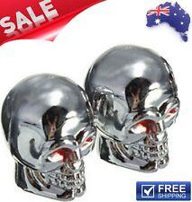 Chrome Skull Red Eyes Tire Air Valve Caps Motorbike Bike Harley Triumph KTM BMW