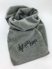 Heather Gray Fleece Music Notes Winter Scarf, Embroidered, Men's or Women's 60""