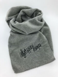 """Heather Gray Fleece Music Notes Winter Scarf, Embroidered, Men's or Women's 60"""""""