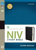 NIV Study Bible Large Print Bonded Leather Black Indexed Red Letter by Zondervan