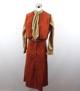 Vtg 70s Bonwit Teller Womens 13 Suede Leather Vest Skirt Silk Blouse 3 Pc Set