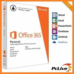Microsoft Office 365 Personal 1 PC/Mac 1 Year Word Excel PowerPoint Outlook iPad