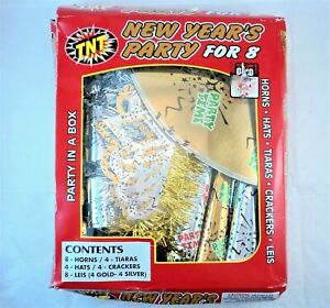 TNT New Year's Party For 8 Silver & Gold Horns Tiaras Hats Crackers Leis Box Kit