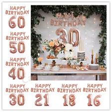 Rose Gold Happy Birthday Bunting Banner Balloons 18/21st/30/40/50/60th Decor UK