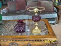 Fenton Style Ruby Cranberry Red Diamond Quilted Gone With The Wind Parlor Lamp