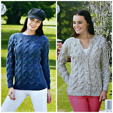 KNITTING PATTERN Ladies Long Sleeve Round Neck Cable Jumper & Jacket Aran 4346