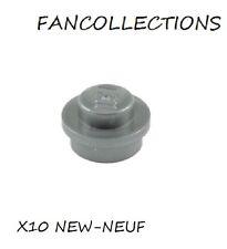 LEGO-X10 Flat Silver Plate, Round 1 x 1 Straight Side , 4073 NEUF