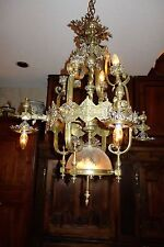 BRONZE OUTSTANDING INTRICATE FRENCH ANTIQUE CHANDELIER LIGHT c 1880 HIGH QUALITY
