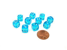 Pack of 10 Deluxe Round Edge Small 10mm Transparent D6 Dice - Turquoise