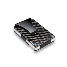 Slim Carbon Fiber Credit Card Holder Non-scan Metal Wallet Money Clip Purse