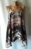 🔻All Saints Silk  Sleeveless Asymmetrical  Blouse Top Tropical  print Size 8