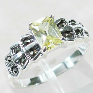 Sterling Silver Size 7 1//4 Antique Style Peridot Ring with Marcasite accents