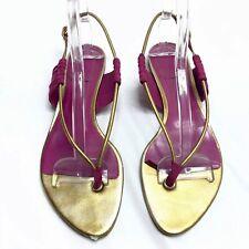 DIOR Thong Sandals Pink Gold Women's 39 8.5 9