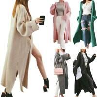 Womens Duster Knit Maxi Cardigan Slit Sweater Oversized Long Coat Jacket Jumper