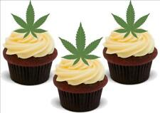 Marajuana Hash Leaf Grass 12 Standup Premium Wafer Cake Toppers
