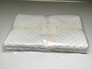 Pottery Barn Baby Pick Stitch /white/blue Toddler Quilt New With Tags