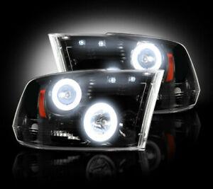 2009-13 Dodge Ram Projector Headlights Smoked Lens w Chrome Housing & CCFL Halos