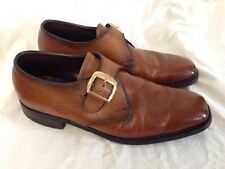 Vintage Flagg Bros Brown Pebbled Leather Monk Strap Shoes Size 9