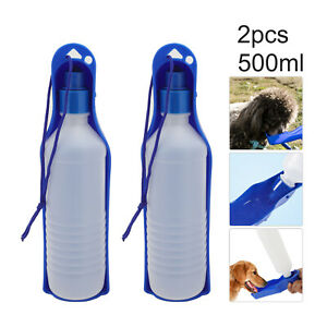 2pcs Portable Foldable Pet Dog Water Bottle Outdoor Feeding Water Bowl Dispenser