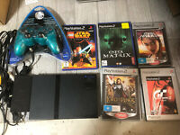 Playstation PAL PS2 SLIM System CONSOLE Bundle LOT 5 Games Controller Star Wars