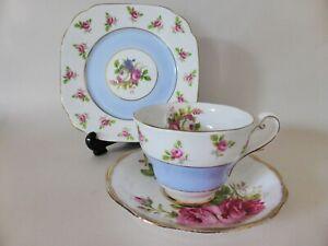 Mismatched Floral Tea Cup, Saucer and Plate, Royal Albert & Royal Standard