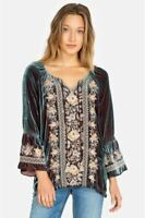 Johnny Was Marushka Velvet Fare  Sleeve Blouse  Embroidered J12419 NEW Boho Chic