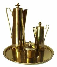 DORLYN BRASS Coffee Set Tommi Parzinger Tray Sugar Creamer Tall Pot MCM Vintage
