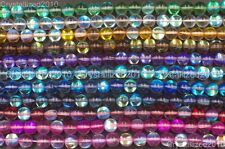 Top Crystal Glass Round Glitter Inside AB Coating Beads 6mm 8mm 10mm 12mm 15.5""