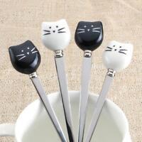 Stainless Steel Ice Cream Dinnerware Fruit Fork Cat Coffee Spoons Tea Scoops WA