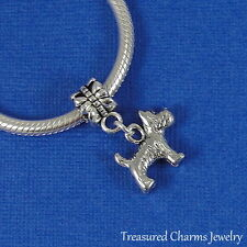 "Silver SCOTTISH TERRIER ""Scottie Dog"" Dangle Bead CHARM fits EUROPEAN Bracelet"
