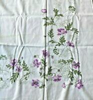 Vintage Printed Cotton Tablecloth White & Purple Floral Flowers Rectangle cloth