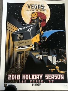 CHANCE SIGNED! VEGAS GOLDEN KNIGHTS 2018 HOLIDAY SERIGRAPH PHENOM AUTOGRAPHED
