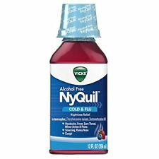 Vicks NyQuil Cough Cold and Flu Nighttime Relief, Alcohol Free Berry Liquid, 12