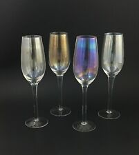 "Vintage IRIDESCENT 9"" Champagne Flutes Set of 4 Rainbow Glasses"
