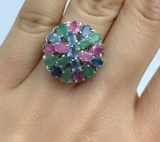 Solid .925 Silver Big Flower Cluster Ring, Mix Stones. Size 6.75. 6.54 Grams