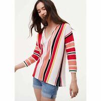Ann Taylor Loft Women's striped white red paseo sweater Knit Too Tie Neck siz XS