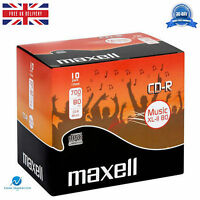 Maxell CD-R Audio Blank CDR XL-II 80 10 pack Jewel Cased Audio Music CD's NEW HQ