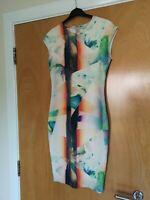Ladies ZARA Dress Size S 8 10 Green Orange Wiggle Stretch Party Evening Wedding