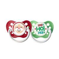 Ulubulu Holiday Pacifier, Christmas Santa Claus and HoHoHo, 6-18 Months