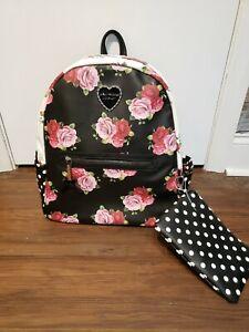 Betsey Johnson Womens Large Black Backpack Floral Roses W/Bonus Cosmetic Bag NWT