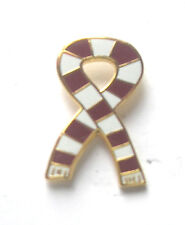 Maroon Claret & White Retro Bar Scarf Ribbon Enamel Gold Plated Lapel Pin Badge