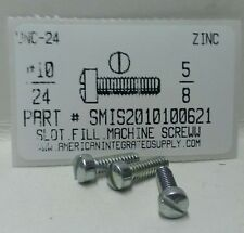 #10-24x5/8 Fillister Head Slotted Machine Screws Steel Zinc Plated (30)