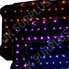 BACKLIT ILLUMINATED KEYBOARD 3 COLOURS UK LAYOUT USB WIRED 3 LIGHT LEVELS
