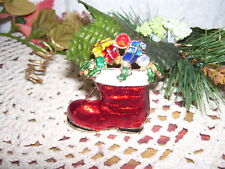 With Packages Bright Colorful Christmas Pin Santas Boot
