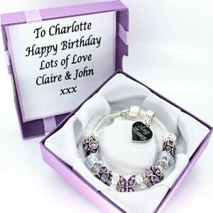 Personalised Gifts For Mum Purple Bracelet MUM MUMMY Engraved Charm FREEPOST