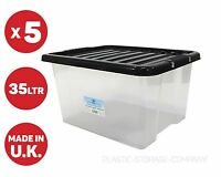 5 X 35 LITRE PLASTIC STORAGE BOX WITH BLACK LID! HEAVY STRONG BOX - USEFUL BOX!!
