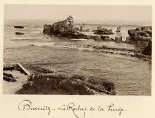 France, Biarritz, Le Rocher de la Vierge  Vintage albumen print.  Tirage album