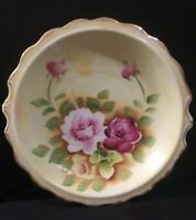 """Vintage Made in Japan Marked Porcelain Bowl Painted Pink Yellow Roses 9.5"""""""